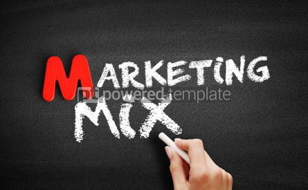 Business: Marketing mix text on blackboard #00151