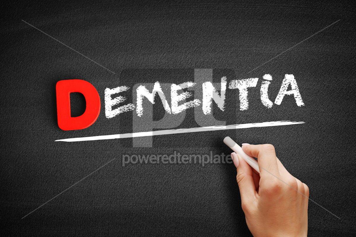 Dementia text on blackboard, 00157, Business — PoweredTemplate.com