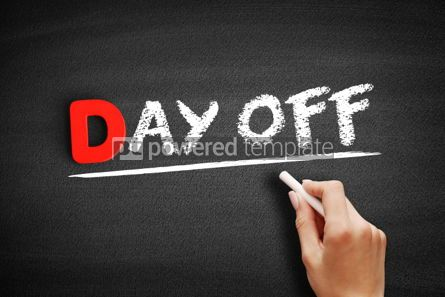 Business: Day Off text on blackboard #00160