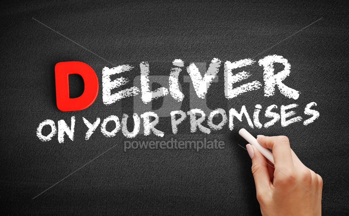 Deliver on your Promises text on blackboard, 00161, Business — PoweredTemplate.com