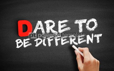 Business: Dare To Be Different text on blackboard #00176