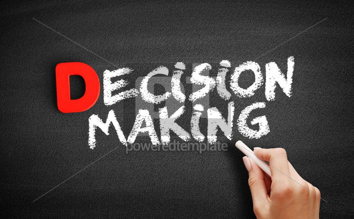 Decision Making text on blackboard, 00188, Business — PoweredTemplate.com