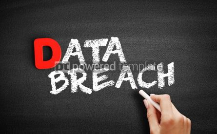 Business: Data Breach text on blackboard #00192