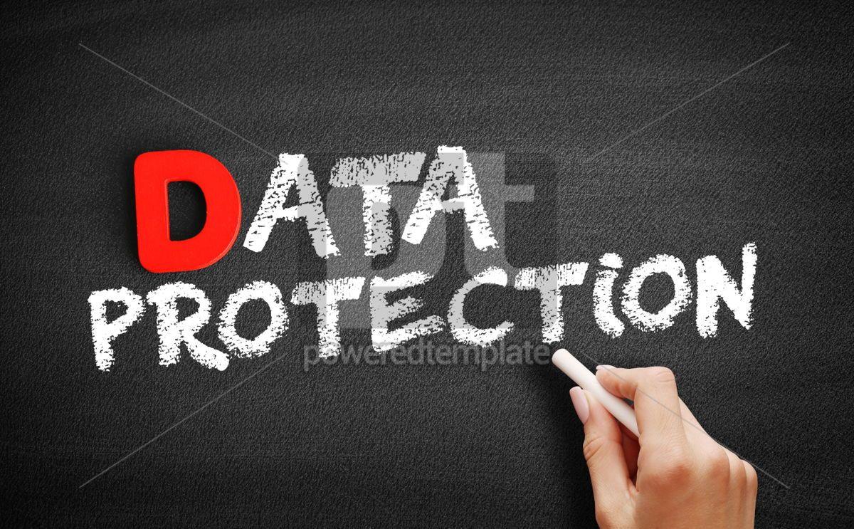 Data protection text on blackboard, 00196, Business — PoweredTemplate.com
