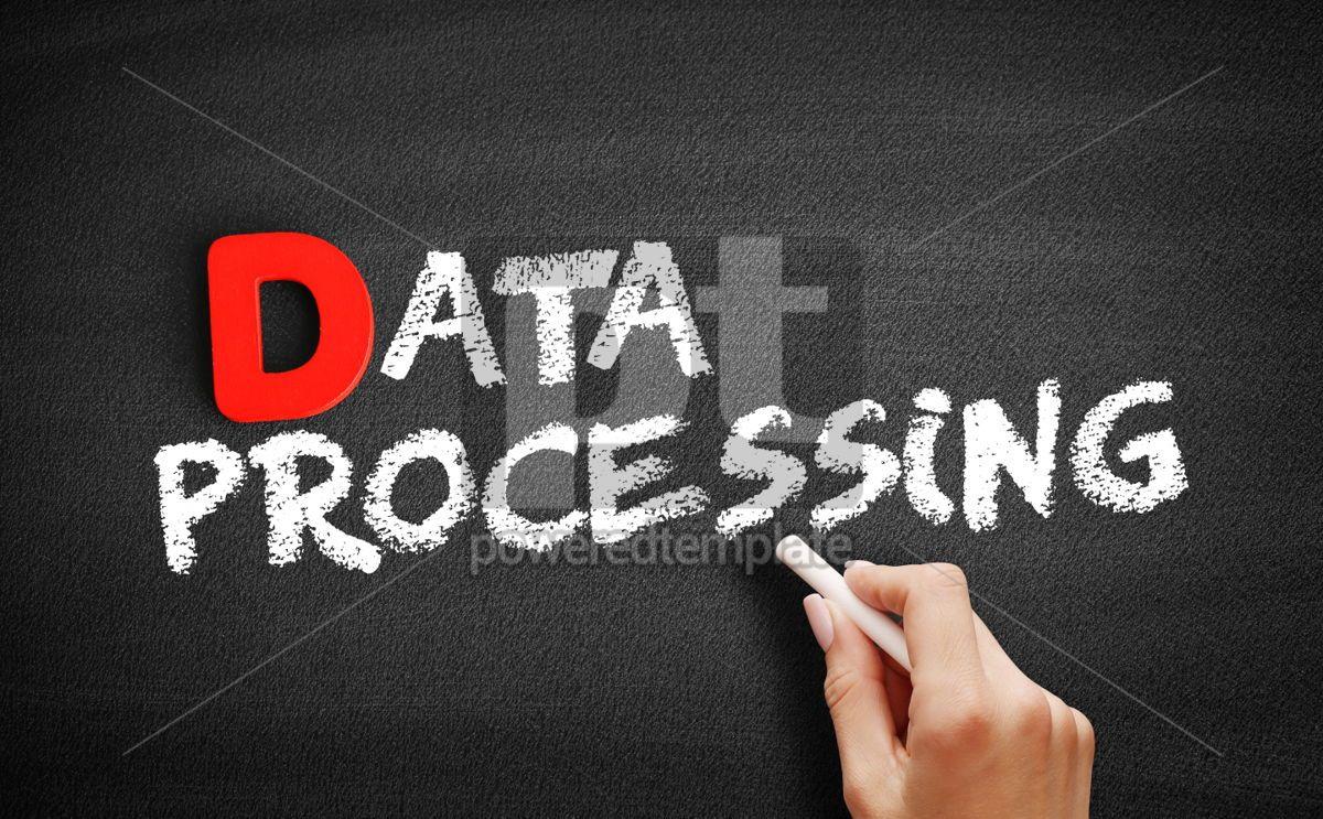 Data processing text on blackboard, 00210, Business — PoweredTemplate.com
