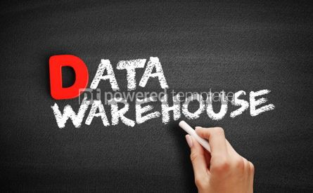 Business: Data warehouse text on blackboard #00212