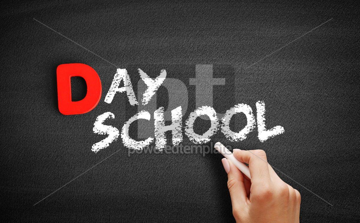 Day school text on blackboard, 00229, Business — PoweredTemplate.com