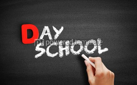 Business: Day school text on blackboard #00229