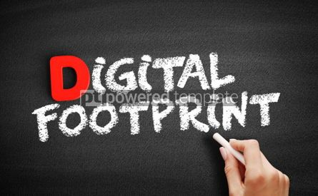 Business: Digital footprint text on blackboard #00236