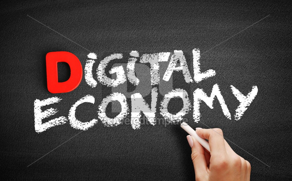 Digital economy text on blackboard, 00239, Business — PoweredTemplate.com