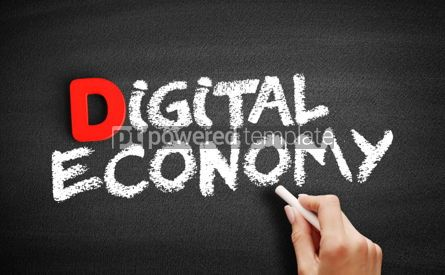 Business: Digital economy text on blackboard #00239