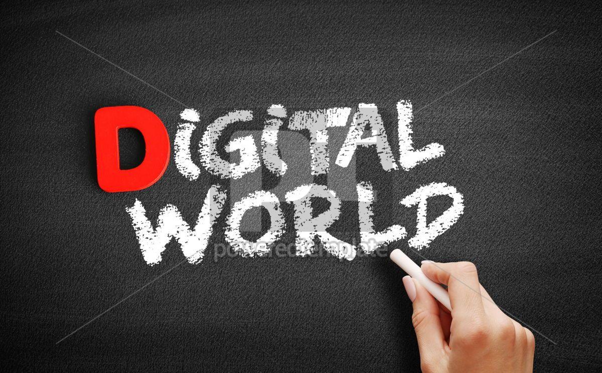 Digital world text on blackboard, 00242, Business — PoweredTemplate.com