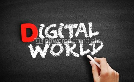 Business: Digital world text on blackboard #00242