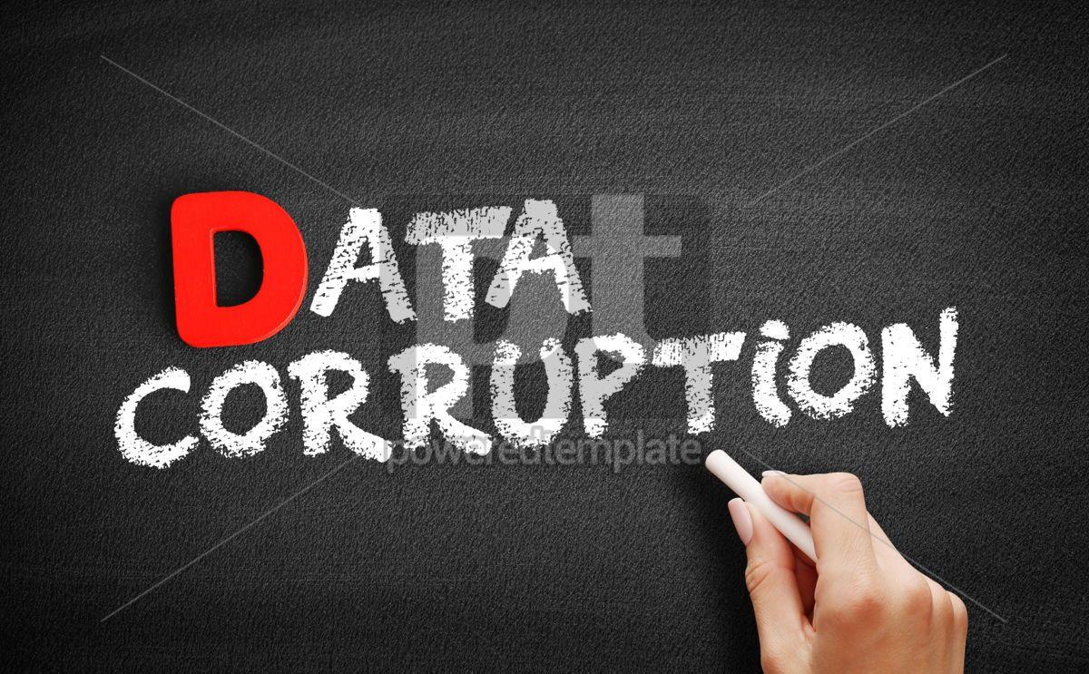 Data corruption text on blackboard, 00244, Business — PoweredTemplate.com
