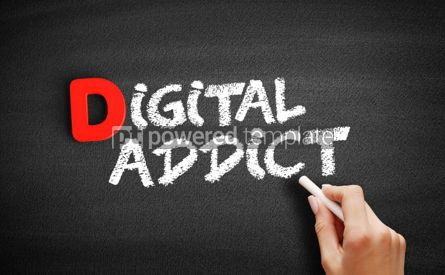 Business: Digital addict text on blackboard #00249