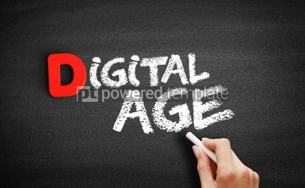 Business: Digital age text on blackboard #00250