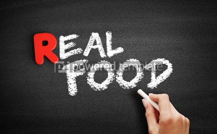 Business: Real Food text on blackboard #00263