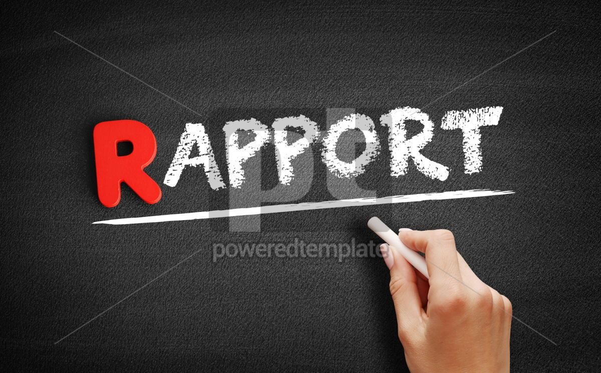 Rapport text on blackboard, 00268, Business — PoweredTemplate.com