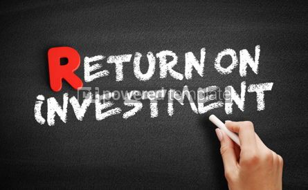 Business: Return on investment text on blackboard #00278