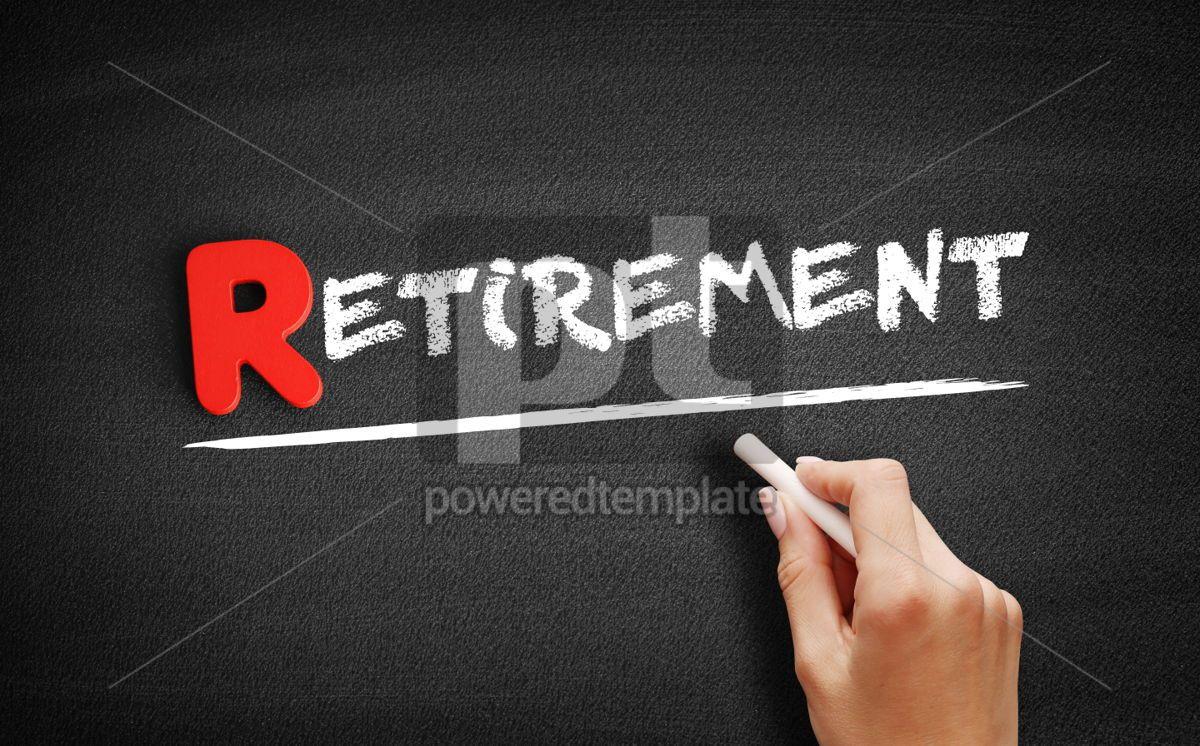Retirement text on blackboard, 00287, Business — PoweredTemplate.com