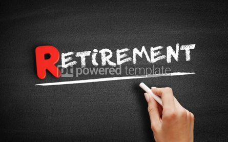 Business: Retirement text on blackboard #00287