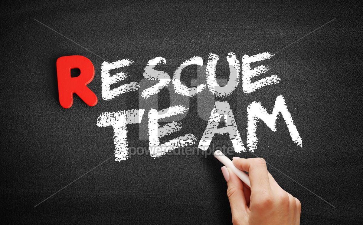 Rescue team text on blackboard, 00290, Business — PoweredTemplate.com