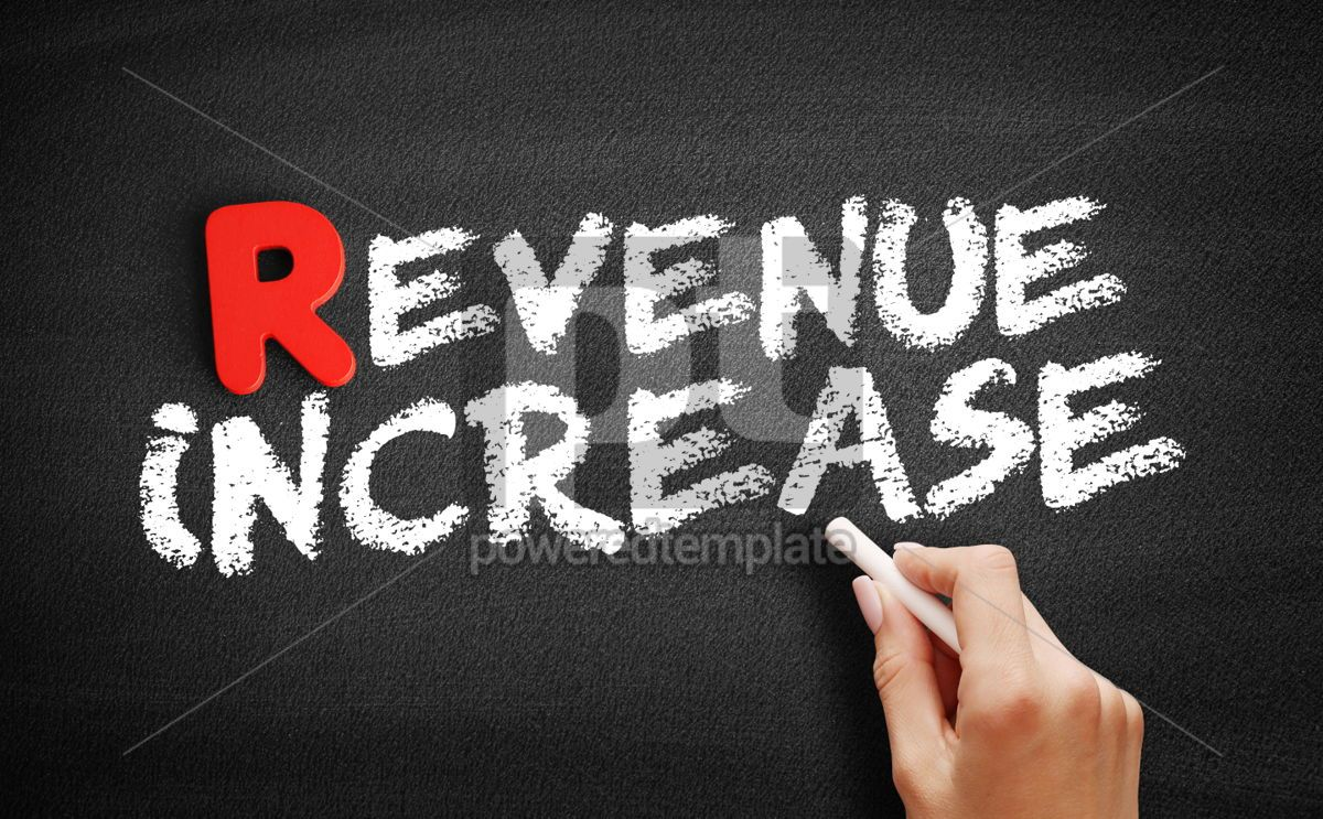 Revenue increase text on blackboard, 00293, Business — PoweredTemplate.com