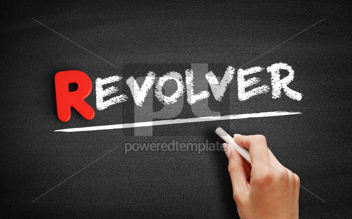 Revolver text on blackboard, 00295, Business — PoweredTemplate.com