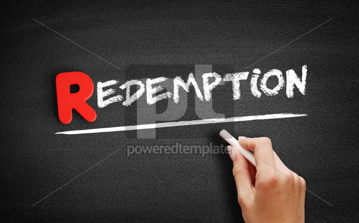 Redemption text on blackboard, 00297, Business — PoweredTemplate.com