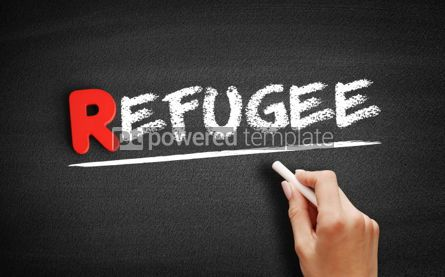 Business: Refugee text on blackboard #00299