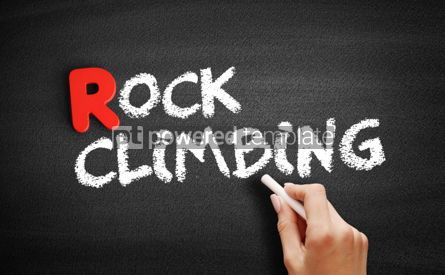 Business: Rock climbing text on blackboard #00303