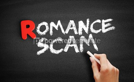Business: Romance scam text on blackboard #00307
