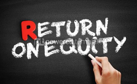 Business: Return On Equity text on blackboard #00313
