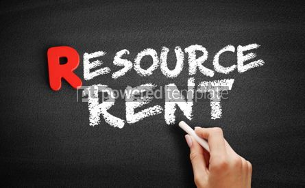 Business: Resource Rent text on blackboard #00314