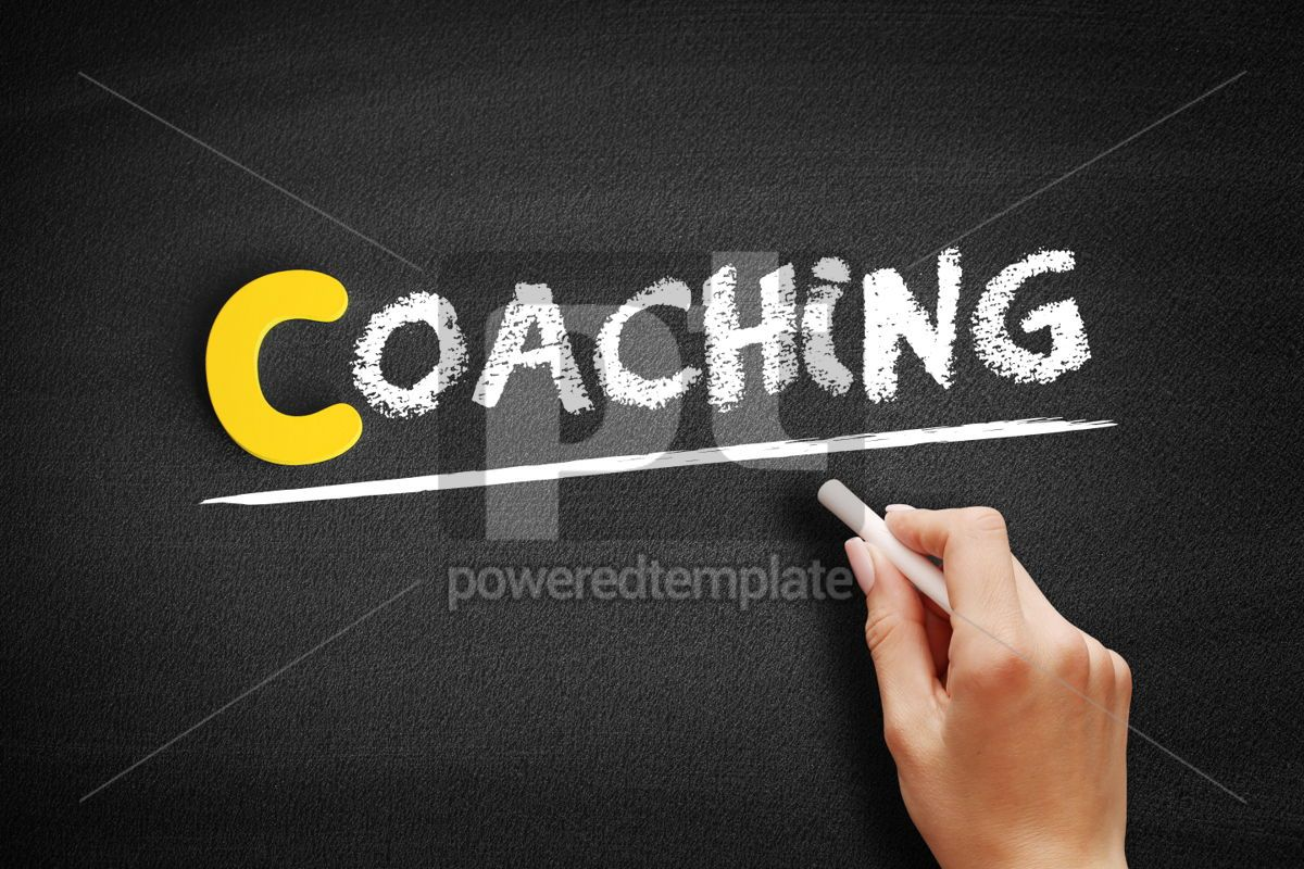 Coaching text on blackboard, 00328, Business — PoweredTemplate.com