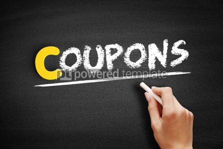 Business: Coupons text on blackboard #00333