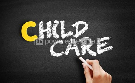 Business: Child Care text on blackboard #00334