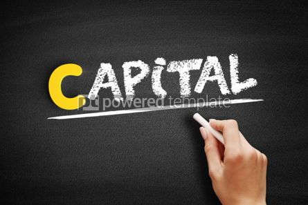 Business: CAPITAL text on blackboard #00342