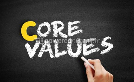 Business: Core Values text on blackboard #00348