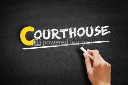 Business: Courthouse text on blackboard #00371