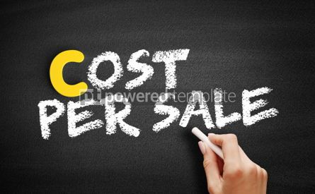 Business: Cost Per Sale text on blackboard #00378