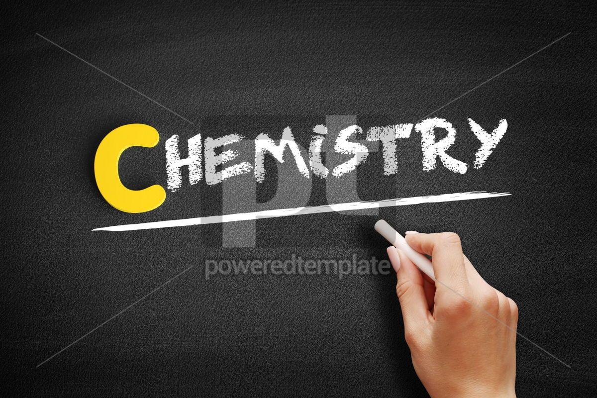 Chemistry text on blackboard, 00385, Business — PoweredTemplate.com