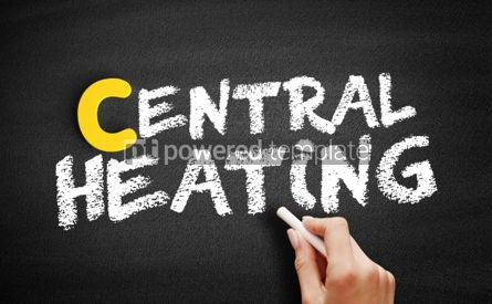 Business: Central heating text on blackboard #00391