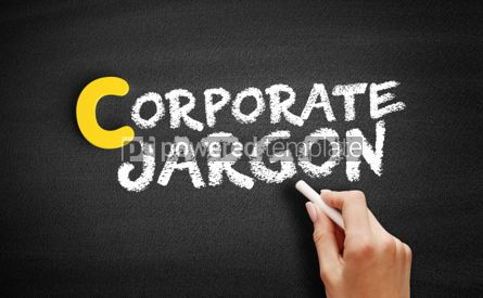 Business: Corporate jargon text on blackboard #00393