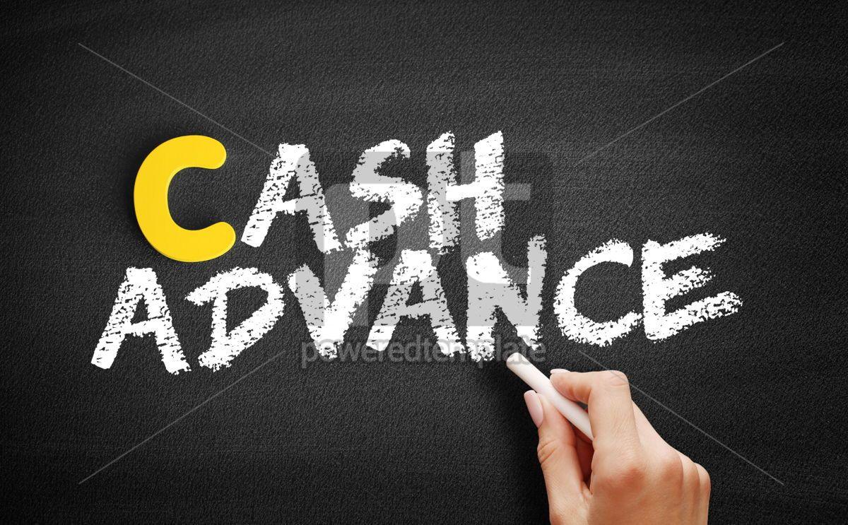 Cash advance text on blackboard, 00398, Business — PoweredTemplate.com
