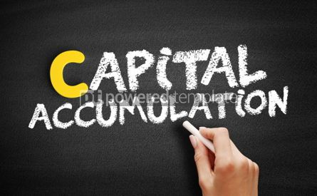 Business: Capital accumulation text on blackboard #00407