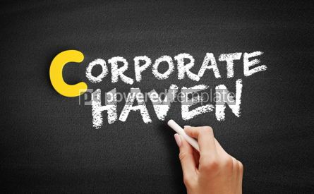 Business: Corporate haven text on blackboard #00408
