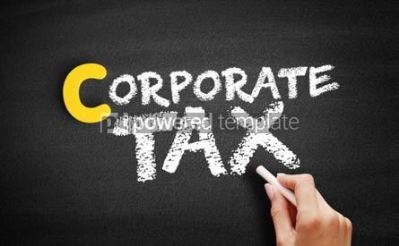 Business: Corporate tax text on blackboard #00409