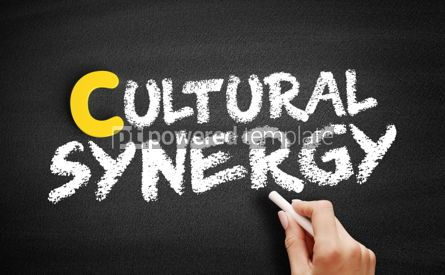 Business: Cultural synergy text on blackboard #00411