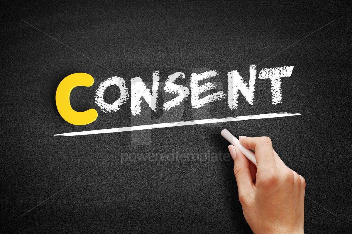 Consent text on blackboard, 00423, Business — PoweredTemplate.com